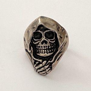 925 sterling silver hoodie skull ring